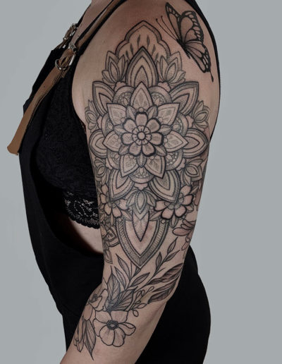 Mandala floral sleeve im working on.