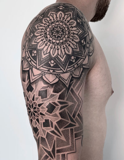 Mandala sleeve in progress on Jimmy!